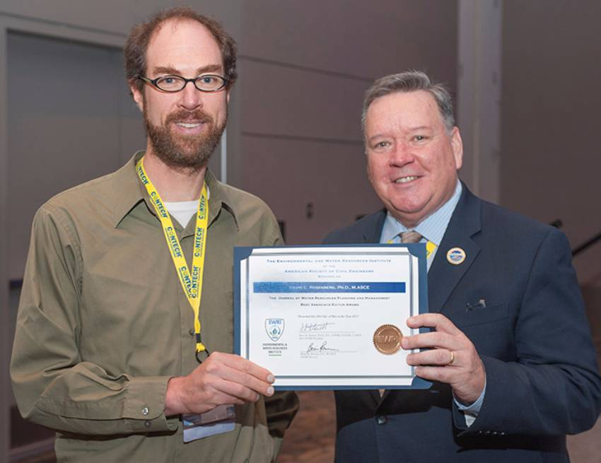 David Rosenberg received an EWRI award for Best Associate Editor