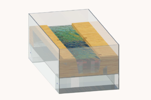 A rendering of the model design with water