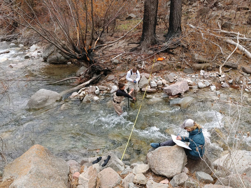 Dr Lane collecting streamflow data with grad student Haley Canham and undergraduate student Missy White
