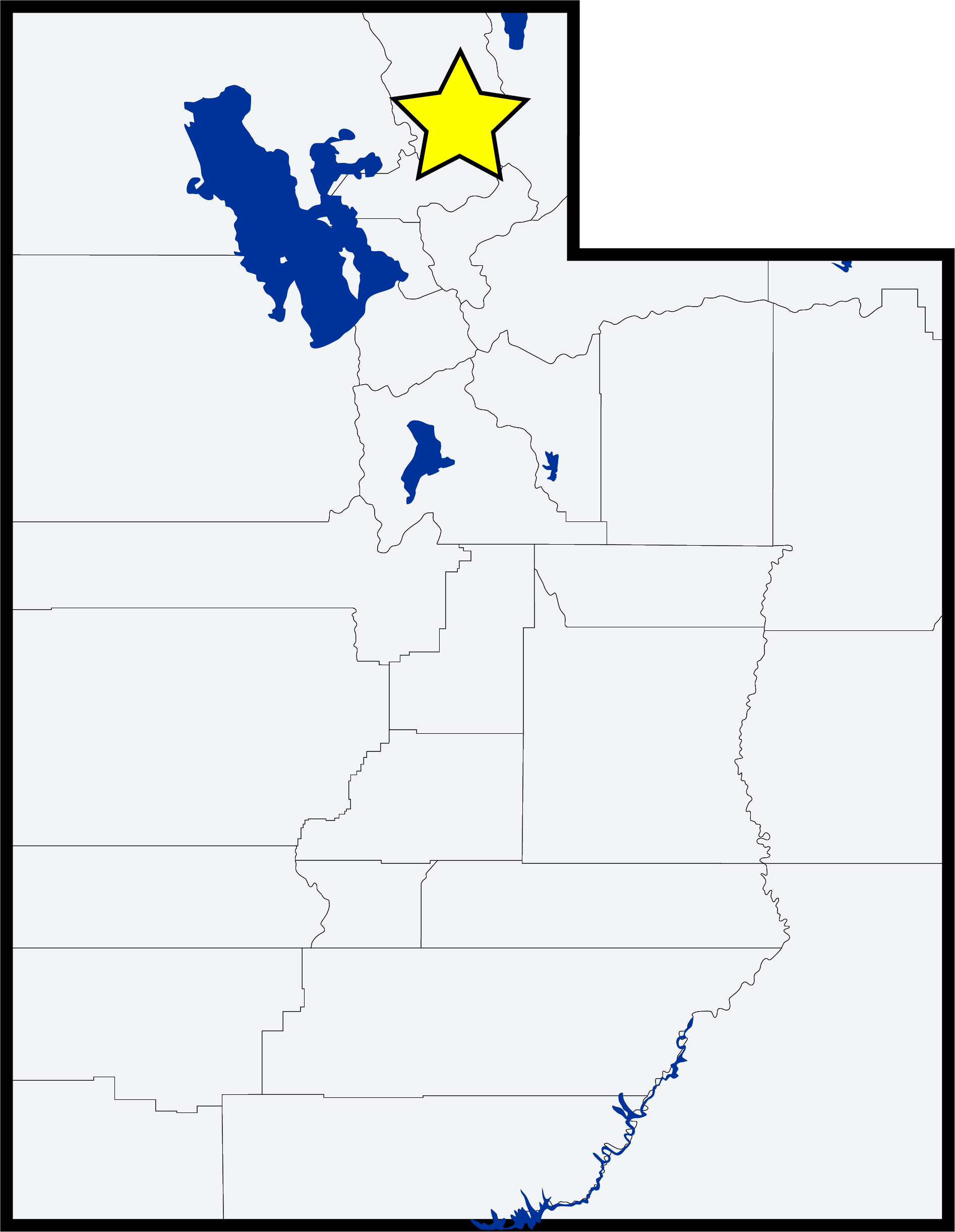 outline map of Utah showing study area