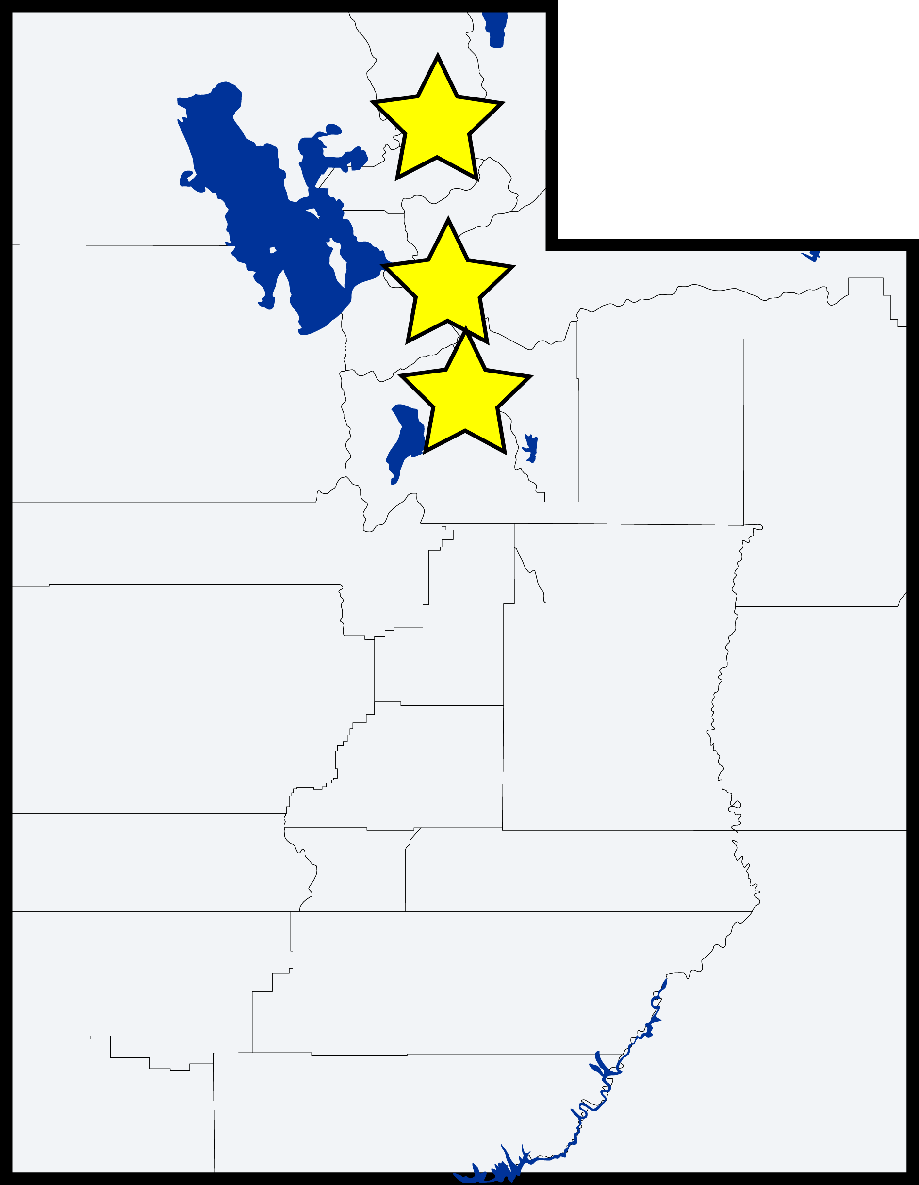 outline map of Utah showing study locations