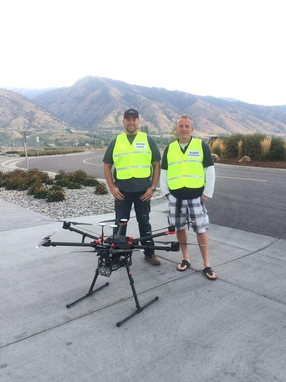 """Hunter Buxton and Ian Gowing with UAV """"Matrice"""""""