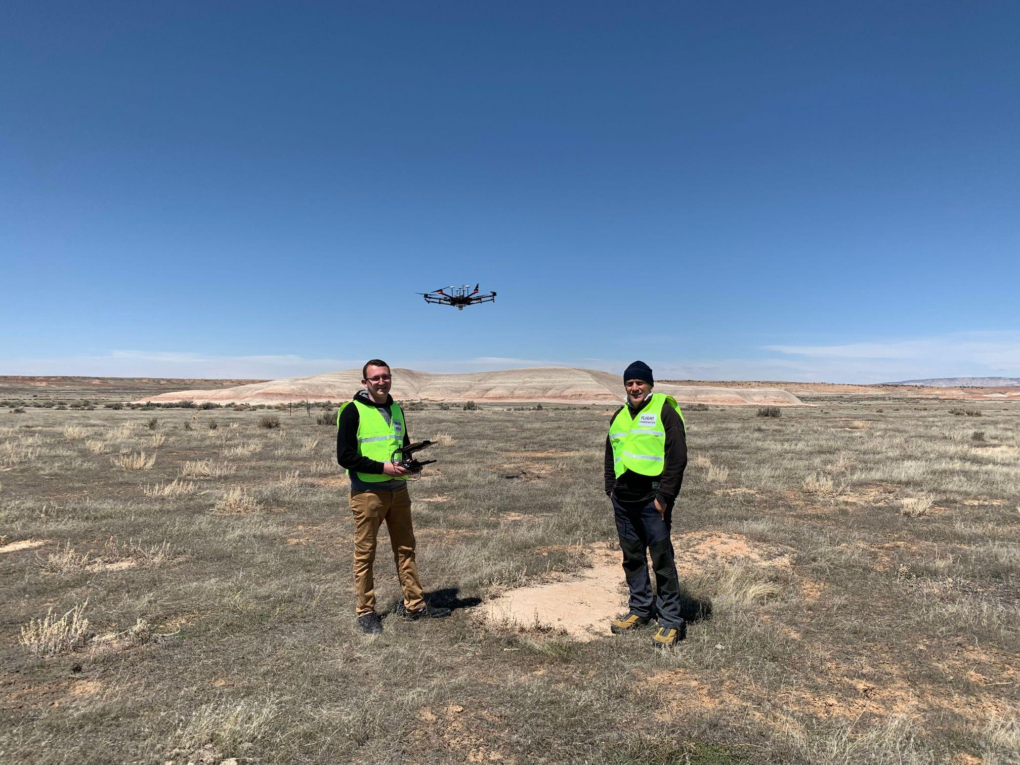 The AggieAir Service Center Team with UAV Matrice above the prairie dog town.