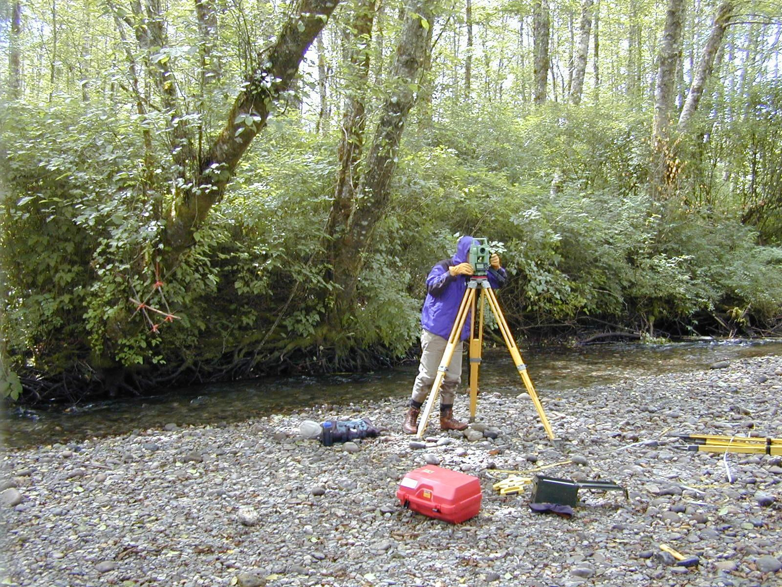 Person using a surveying machine
