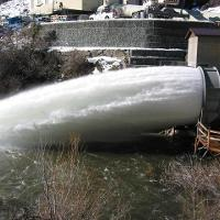 Fixed cone valve with hood Salt Springs Dam, CA